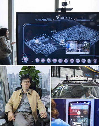 Desde arriba, pantalla en la sede de Yitu que muestra el recorrido en tiempo real de las personas que han pasado su control de entrada; una empleada ante el sistema de reconocimiento facial y Zhu Long, cofundador de Yitu.