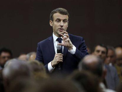 El presidente francés, Emmanuel Macron, durante una reunión del