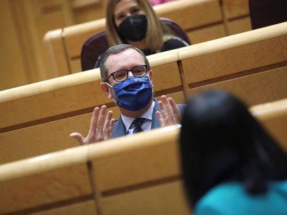 El portavoz del PP Javier Maroto durante la sesión de control al Gobierno celebrada este martes en el Senado, en Madrid.