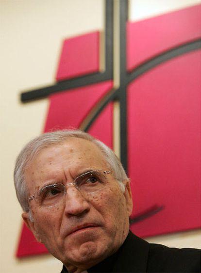 Antonio María Rouco Varela comparecía ayer nada más ser elegido presidente de la CEE.