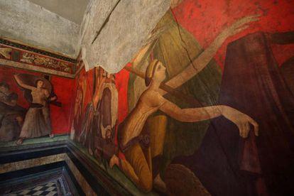 Interior de la Villa de los Misterios tras su rehabilitación en Pompeya.