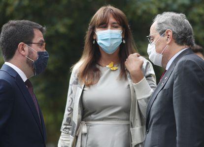 Pere Aragonès (izq.), Laura Borràs y Quim Torra, ante el Supremo el pasado mes de septiembre.