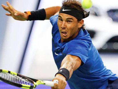 FOTO: Nadal, durante las semifinales contra Cilic. / VÍDEO: Resumen del partido.