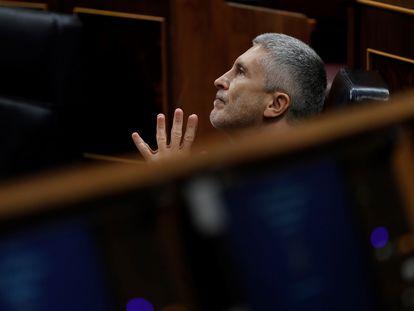 El ministro del Interior, Fernando Grande-Marlaska, durante la sesión de control al Ejecutivo de este miércoles en el Congreso.