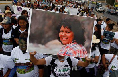 Manifestación en Tegucigalpa en recuerdo de Berta Cáceres.