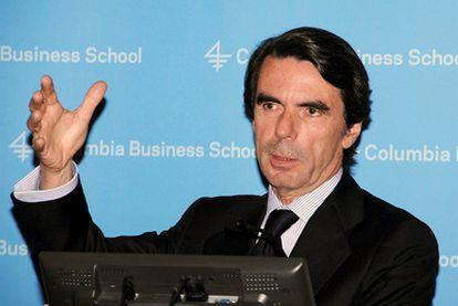 José María Aznar, durante una conferencia en inglés en la Universidad de Columbia (Nueva York), en una fotografía facilitada por la fundación FAES.