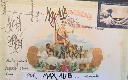 Postal enviada por Fernando Arrabal a Manuela Carmena.
