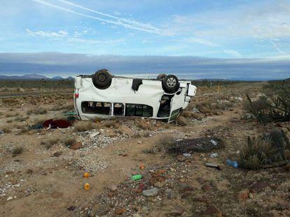 La camioneta accidentada en Baja California.