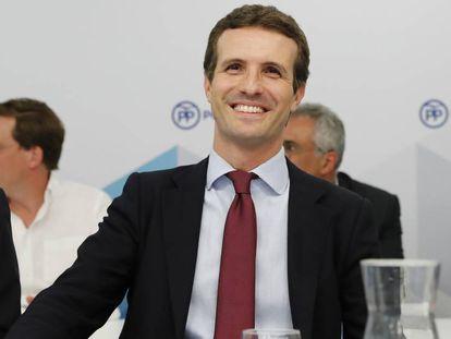 Pablo Casado preside la junta directiva del PP de la Comunidad de Madrid.