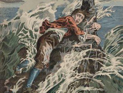 Ilustración de una edición francesa de 1900 de 'Robinson Crusoe'. Litografía de L Nehlig a partir de una ilustración de J. J Grandvillle.