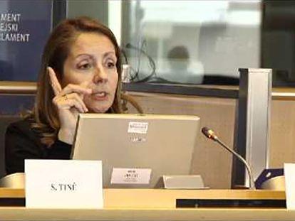 Captura de vídeo de una intervención de Paloma Conde-Pumpido en una comisión del Parlamento Europeo.
