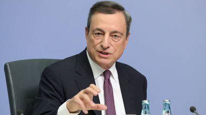El presidente del Banco Central Europeo, Mario Draghi, en una rueda de prensa en Fráncfort, Alemania.