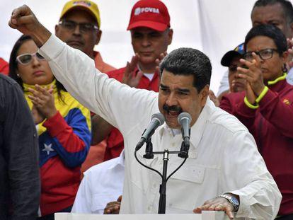 Nicolas Maduro durante una conferencia en el Palacio de Miraflores, Caracas.