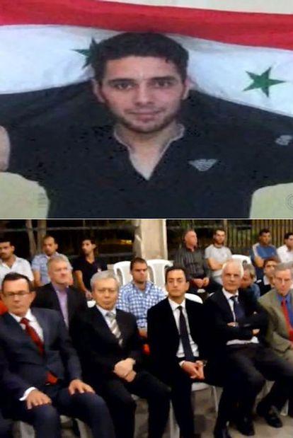 Dos capturas de vídeo muestran al activista Ghiath Matar y a varios embajadores que asistieron a su funeral, liderados por el francés y el estadounidense.