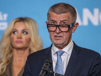 El primer ministro checo y líder del movimiento ANO, Andrej Babis, durante una conferencia de prensa en Praga.