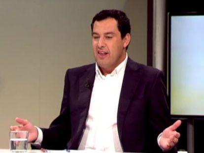 Juan Manuel Moreno, durante su intervención en 8 Televisión.