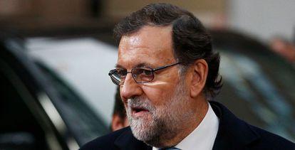 Rajoy a su llegada al Consejo este lunes.
