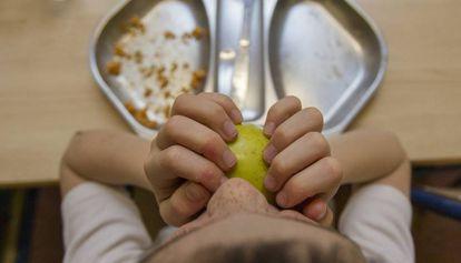 Un niño come en el comedor del colegio.