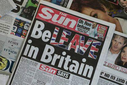 Primera página del 14 de junio del diario The Sun, el más vendido del Reino Unido.