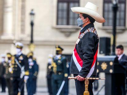 El presidente de Perú, Pedro Castillo, en una ceremonia el 5 de agosto en Lima.