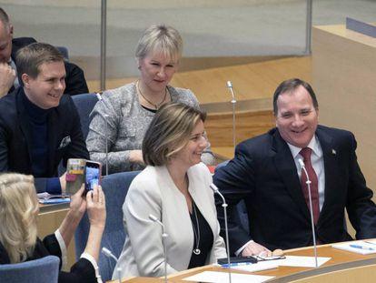 El líder socialdemócrata, Stefan Löfven, tras ser proclamado primer ministro de Suecia, el 18 de enero de 2018.