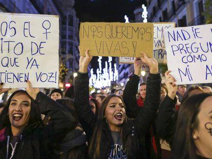 Manifestación contra la violencia de género en la Puerta del Sol de Madrid.