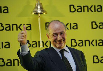 El expresidente de Bankia, Rodrigo Rato, el día del estreno en Bolsa de la entidad