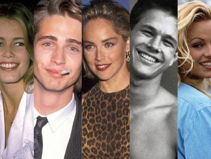 De izquierda a derecha: Claudia Schiffer, Jason Priestley, Sharon Stone, Mark Wahlberg y Pamela Anderson. Algunos han cambiado radicalmente y otros están igual.