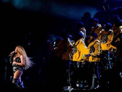 Beyoncé, durante la actuación en Coachella.