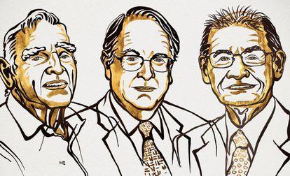 Los galardonados con el Premio Nobel de Química, dede la izquierda, John B. Goodenough, M. Stanley Whittingham y Akira Yoshino.