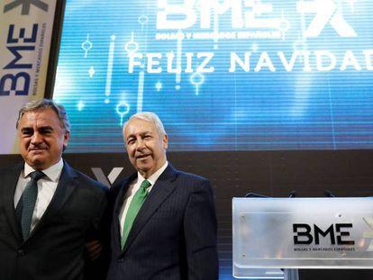Javier Hernani (izquierda) y Antonio Zoido, consejero delegado y presidente de BME, respectivamente.