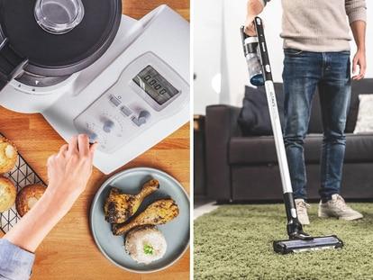 Dos de los productos rebajados: un robot de cocina y un aspirador escoba. TAURUS