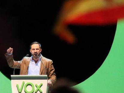 El líder de Vox, Santiago Abascal, en un acto en Madrid.