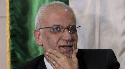 El negociador jefe de la OLP, Saeb Erekat, este jueves.