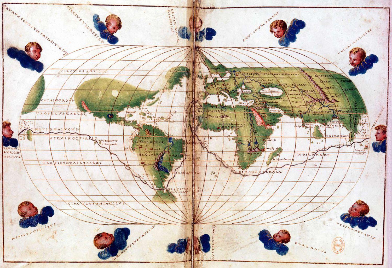 Mapamundi con la ruta del viaje de Magallanes. BIBLIOTHÈQUE NATIONALE DE PARIS / GETTY