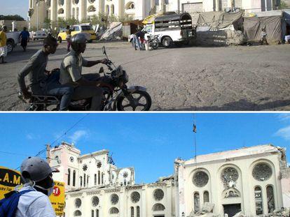 Este lunes se cumple el quinto aniversario del devastador terremoto que azotó Haití el 12 de enero de 2010. Causó cerca de 300.000 muertos y dejó sin casa a millón y medio de personas. En la imagen, la catedral de Puerto Príncipe el 29 de diciembre de 2014 (arriba) y el 19 de enero de 2010, siete días después del seísmo.