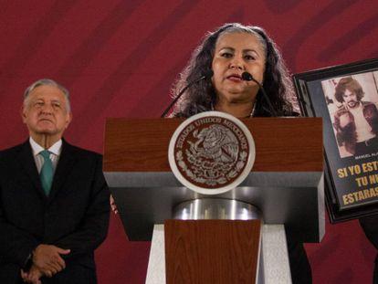 Martha Camacho frente al presidente López Obrador, el pasado 10 de junio.