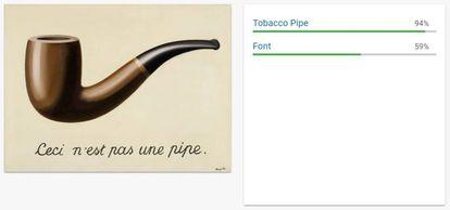 Etiquetas de la Google Cloud Vision API para 'Ceci n'est pas une pipe', de René Magritte