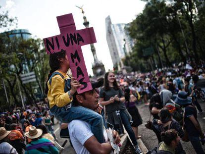 Una manifestación contra la violencia machista en Ciudad de México.