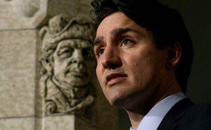 Justin Trudeau en una rueda de prensa.