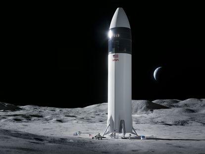 Recreación de la nave espacial de SpaceX que llevará astronautas de la NASA a la superficie de la Luna durante la misión 'Artemis'.
