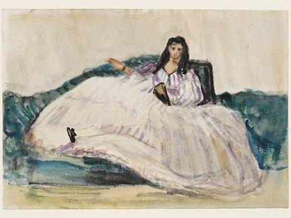 Estudio en acuarela para 'La amante de Baudelaire', de Édouard Manet.
