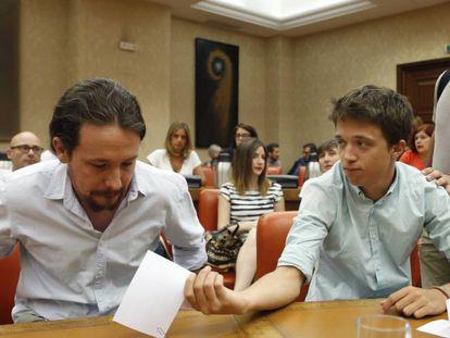 Pablo Iglesias, Íñigo Errejón y Alberto Garzón, la pasada semana.