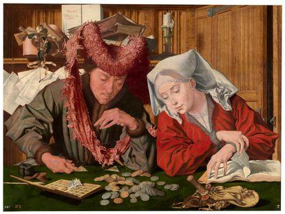 El óleo 'El cambista y su mujer' (1538), de Marinus van Reymerswale, en el Museo del Prado.