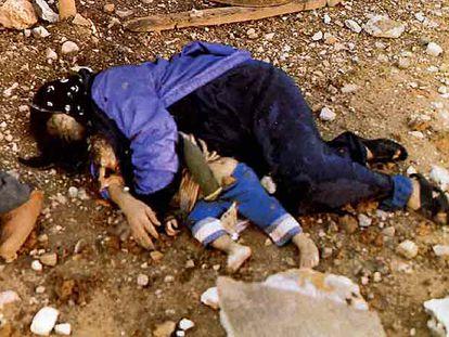 Dos víctimas de la matanza de Halabja de marzo de 1988: una mujer yace abrazando a su hijo.