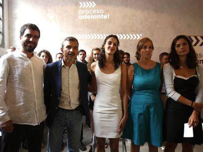 Presentación de 'Proceso Adelante' de Podemos, con Hugo Martínez Barca, José Manuel López, Rita Maestre, Tania Sánchez y Clara Serra.