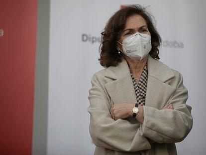La vicepresidenta primera del Gobierno, Carmen Calvo, este viernes en Córdoba.