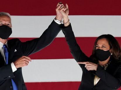 Joe Biden y Kamala Harris en la Convención Nacional Demócrata.
