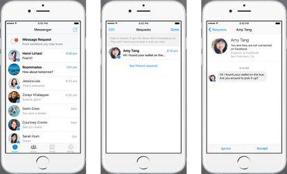 """Apariencia que tendrá """"Message request"""", la nueva prestación de Facebook."""
