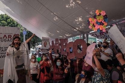 La candidata de Morena a la alcaldía de Iztapalapa, Clara Brugada, durante su cierre de campaña el pasado 30 de mayo.